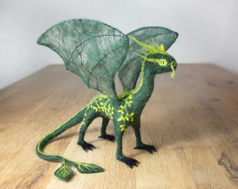 Green dragon, nature dragon, tree dragon, needle felted, green and yellow