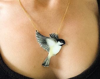 Hand painted large Coaltit pendant necklace. Bird necklace.