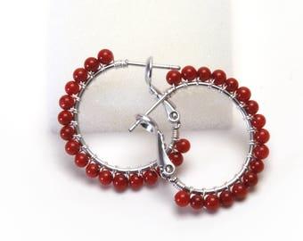 "Red Coral Hoop Earrings - Sterling Silver Wire Wrapped Hoops - Red Gemstone, Silver Plated Hoops (20mm, Beaded 1"")"