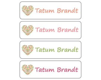 Dishwasher Safe Labels, Great for daycare, preschool, school, camp and more - 4 Pre-made Floral Heart Design