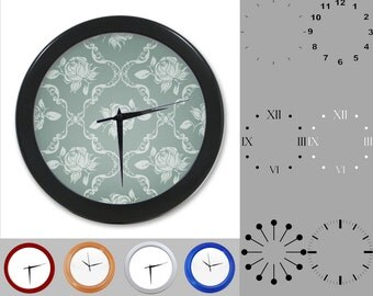 Blue Damask Wall Clock, Abstract Rose Design, Gray Artistic, Customizable Clock, Round Wall Clock, Your Choice Clock Face or Clock Dial