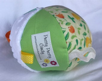 Jingle Fabric Tag Ball Baby Crib Toy Yellows Greens