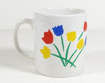 Coloroll Tulip Mug - England Red Yellow Blue Tulips - Vintage Mug - Coffee Cup