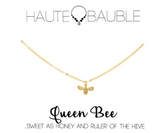 Dainty Gold Bee Pendant Necklace