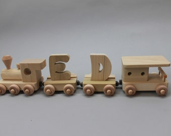 2 letter handcrafted, personalized child's wood name train