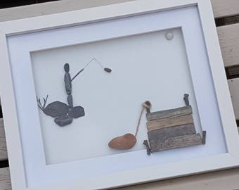 For Him, Fisherman, Pebbles, Fishing, Gift for Dad, Pebble Art, Pebble Picture, Framed Art