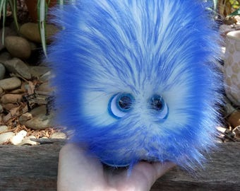 Icey Blue,GONK,approx 16 cms tall,GONKS,are Handmade and Crafted,with safety eyes,Collectible Plush,Fluffy Monster toy