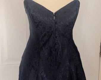 Vtg 90s Lingerie Black Romper Silky Rose Pattern