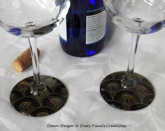Elegant Art Deco - Set of 2 Stylized Wineglasses