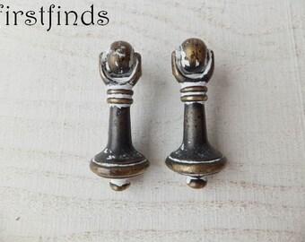 2 Drop Pulls Door Vintage Drawer Knobs Furniture Handles Cabinet Kitchen Shabby Chic Brass White Cottage Dresser Painted ITEM DETAILS BELOW
