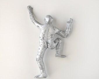 Climbing man sculpture, Sport art, metal wall art, Rustic wall decor, rock climbing, 3d wall art- silver
