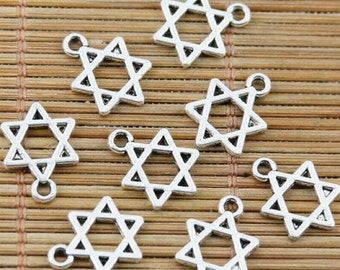 40pcs tibetan silver plated Jewish star of David design charms EF2336