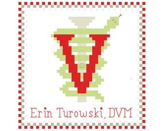 Veterinary Cross Stitch Pattern - Veterinary Caduceus Holiday Ornament Personalized Pattern (Electronic PDF Copy)