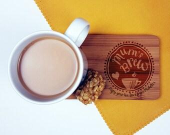 Personalised Mum's Brew Mug Coaster / Gift for Mum / Birthday Gift for Mum / Tea Lovers/ Coffee Lovers/ Mother's Day Gift/ Personalised Gift