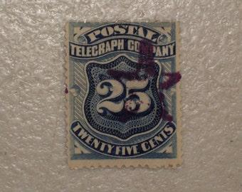 US 1885 Antique  Postal Telegraph Stamp, Scott 15T3, 25 Cents