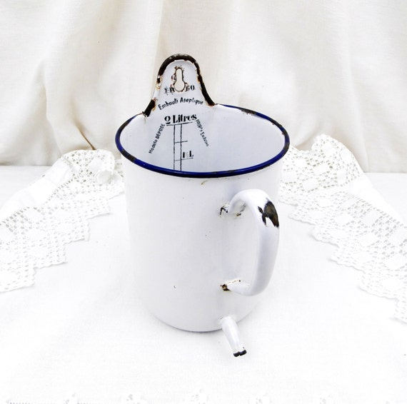 Antique French White Enamelware 2 Liter Water Dispenser / Syphon, Fountain, French Country Decor, Kitchen, Shabby, Cottage, Chic, Enamel