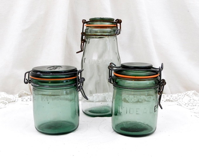 1 Antique French Green Glass Canning Jar L'IDEALE 1/2 Liter / 1 Pint, French Country Decor, Mason Jar, Preserve, Jar, Green Bottle, Jam,