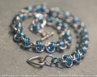 Sky Blue & Silver Barrel Weave Chain Maille Choker/Bracelet