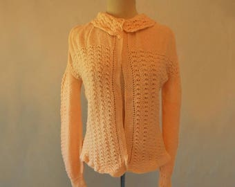Peach Hand Knitted Bedjacket