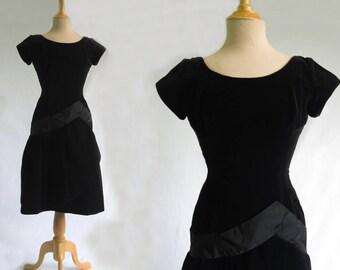 Black Velvet Dress - 1960s