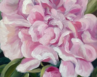 "PRINT of original oil painting pink peonies ""Splendor"" flower floral Pink / Mary Sparrow of Hanging the Moon Studio"