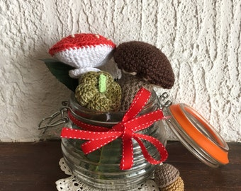 Amigurumi forest set pumpkin amanita mushroom acorn