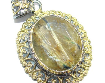 Golden Rutilated Quartz Sterling Silver Pendant - weight 15.50g - dim L- 1 7 8, W - 1 1 8, T- 1 4 inch - code 4-kwi-17-33