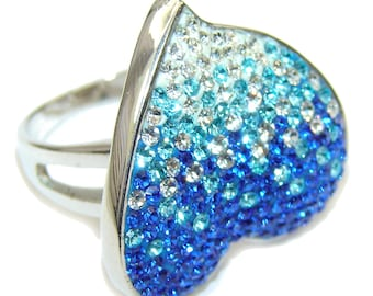 Multicolor quartz Sterling Silver Ring - weight 8.90g - Size 7 1 2 - dim L -1, w -7 8, t -1 8 inch - code 12-sty-16-23