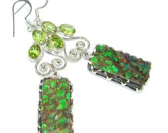 Ammolite, Peridot Sterling Silver Earrings - weight 13.30g - dim L -2 5 8, W -1 2, t -1 4 inch - code 4-gru-15-4