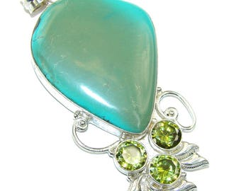 Turquoise, Green Quartz Sterling Silver Pendant - weight 21.00g - dim L -3, W -1 5 8, T -1 4 inch - code 8-kwi-16-66