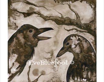 Odin's Ravens Print, Raven Painting, Goth Fine Art Print, Goth Art, Gothic Surrealism, Sepia Ink Watercolors, Black and White Crows Painting