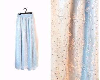 Vintage Lace Skirt Light Blue sparkly sequins size Small