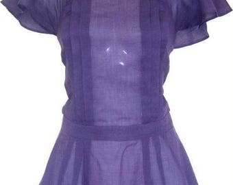 Lightweight 100% Cotton Blouse in an Eggplant Colour Size UK 12
