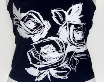 Black Boob Tube with White Glitter Rose Design. Size UK 14