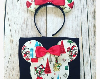 Minnie Mouse Inspired Silhouette Christmas Vintage Mickey Minnie Family Vacation Disney Trip Tee Shirt & Matching Minnie Ears Set