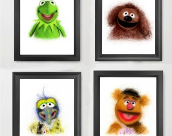 Kermit, Rowlf, Gonzo, and Fozzie, The Muppets (Set of 4 INSTANT DOWNLOAD) - digital art, prints, muppets, decor set, nursery, children