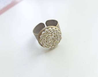 Antique bronze ring with crocheted items, every day ring, ajustable ring, crochet ring