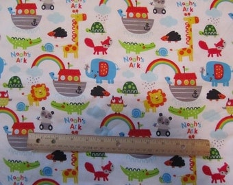 White Noah's Ark and Animals Flannel Fabric  by the Yard