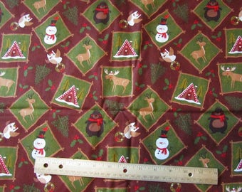 Brown/Green/Red Woodland Animal/Bear/Moose/Deer/Owl Portrait Christmas Fabric by the Yard