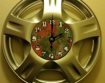 """UpCycled Hubcap Clock 16.5"""" Diameter Finished With Numbers."""
