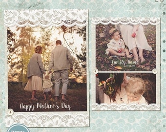ON SALE Mother's Day  Photo Card-Photoshop Template 2015 - vol.1- INSTANT Download