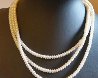 Three Strand Real Pearl Necklace