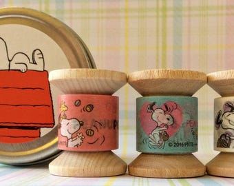 NEW! Snoopy EASTER Themed Mini Spool Washi Tape Set in Round Tin. Each Tin Includes Three Mini Spools Each Hand-rolled with 2 yards of Tape