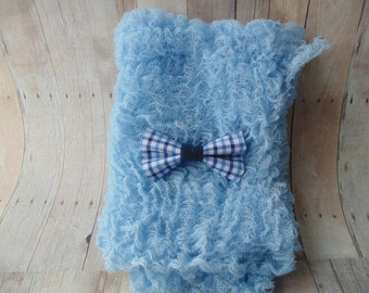 Blue Cheesecloth    Blue Plaid Bow Tie ..Baby Boy Cheesecloth and Bow tie ...   Newborn  Cheesecloth  Photography Wrap