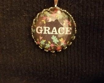 Necklace Grace Pendant Antique Silver Chain