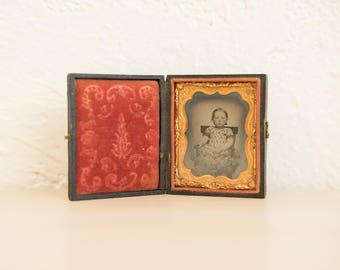 Antique Ambrotype of Little Girl In Rocking Chair Leather Bound Case 1/9 Plate Size