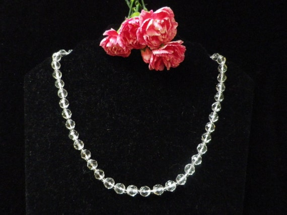 Clear crystal necklace with faceted glass beads, 19 inches