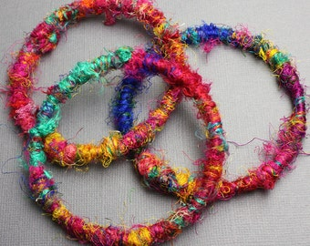 Sari Yarn Bangles, Set of 3 Colorful Bangles, Sari Ribbon Bangles, Eco Friendly Jewelry, Silk Bangles, Sari Yarn Bracelets, Kathy Bankston,M