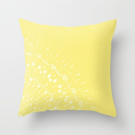 Yellow Lace Throw Pillow Cover yellow throw pillow yellow