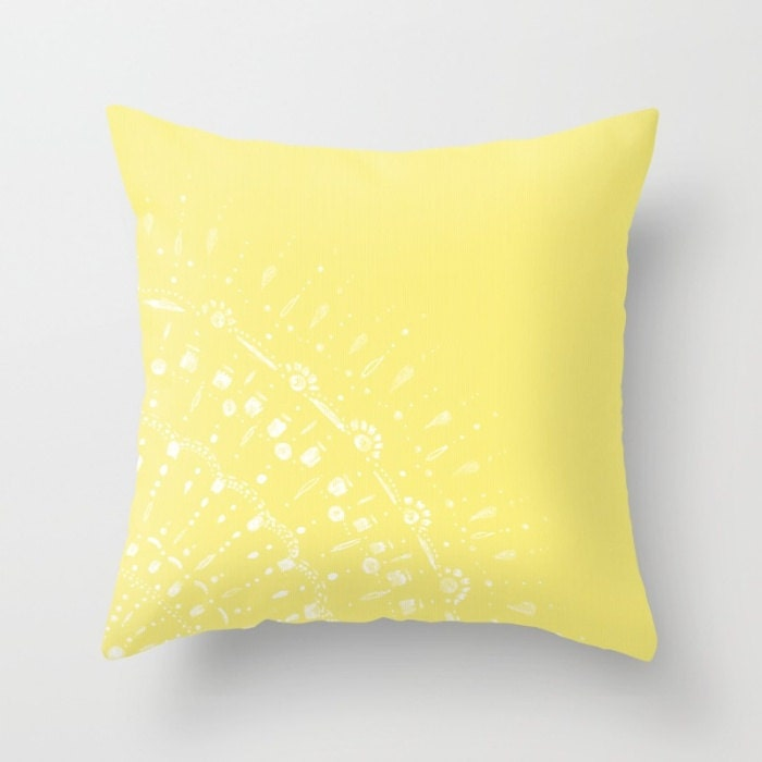 Throw Pillow Yellow : Yellow Lace Throw Pillow Cover yellow throw pillow yellow